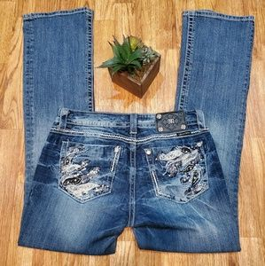 Miss Mee Boot Cut Bling Sequin Lace Pocket 30